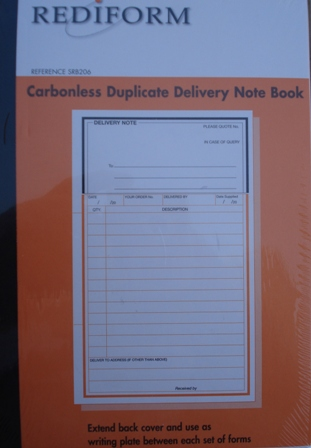 Rediform SRB206 Delivery Note Book Duplicate Carbonless Pkt5